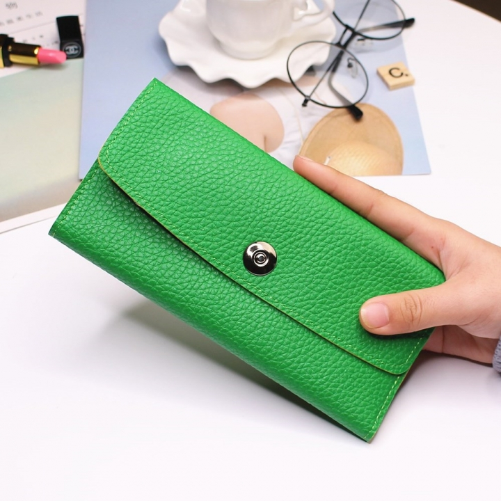 Female Student Simple Long Section Thin Section Wallet Buckle Fashion Coin Purse Hand Bag green one size