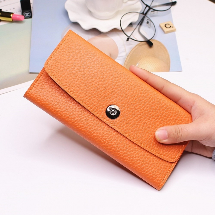 Female Student Simple Long Section Thin Section Wallet Buckle Fashion Coin Purse Hand Bag orange one size