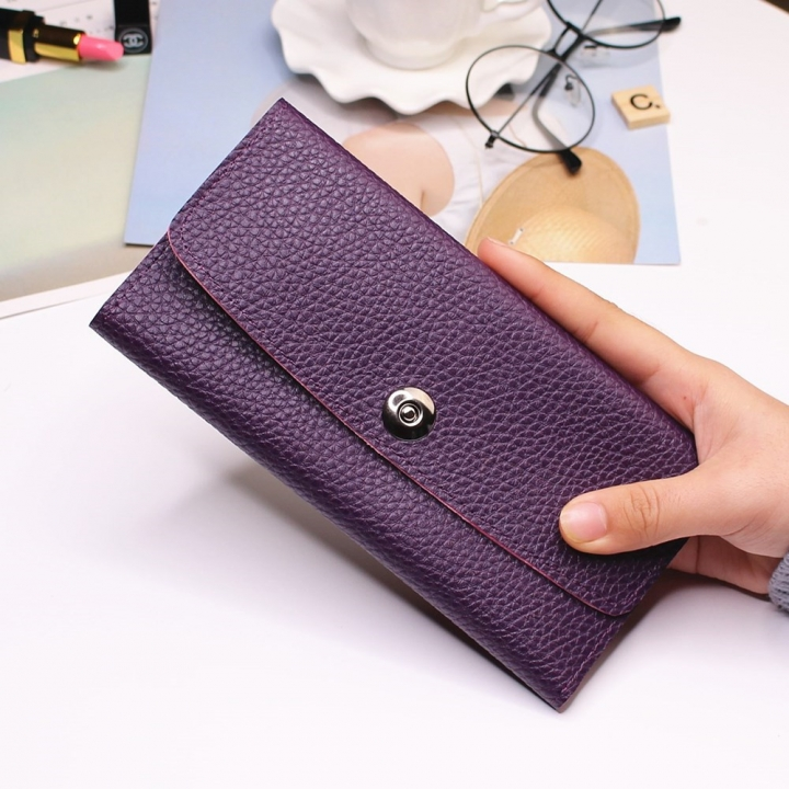 Female Student Simple Long Section Thin Section Wallet Buckle Fashion Coin Purse Hand Bag purple one size