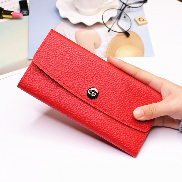 Female Student Simple Long Section Thin Section Wallet Buckle Fashion Coin Purse Hand Bag red one size