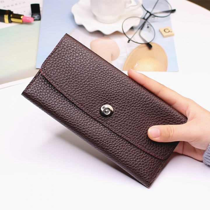 Female Student Simple Long Section Thin Section Wallet Buckle Fashion Coin Purse Hand Bag dark coffee one size
