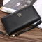 Men soft skin Long section zipper youth Wallet Hand bag Leisure Simple High end Business wallet black one size