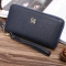 Men soft skin Long section zipper youth Wallet Hand bag Leisure Simple High end Business wallet blue one size