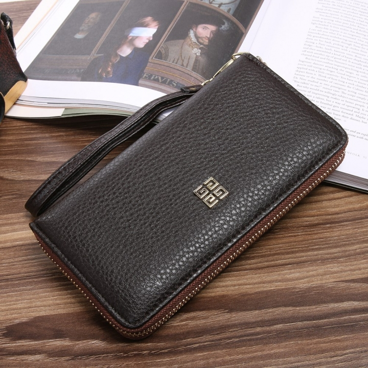 Men soft skin Long section zipper youth Wallet Hand bag Leisure Simple High end Business wallet coffee one size