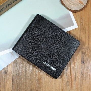 Men Short Section Tide Men Personality Wallet Cross Section Ultra thin Small Wallet Student Wallet fine lines black one size