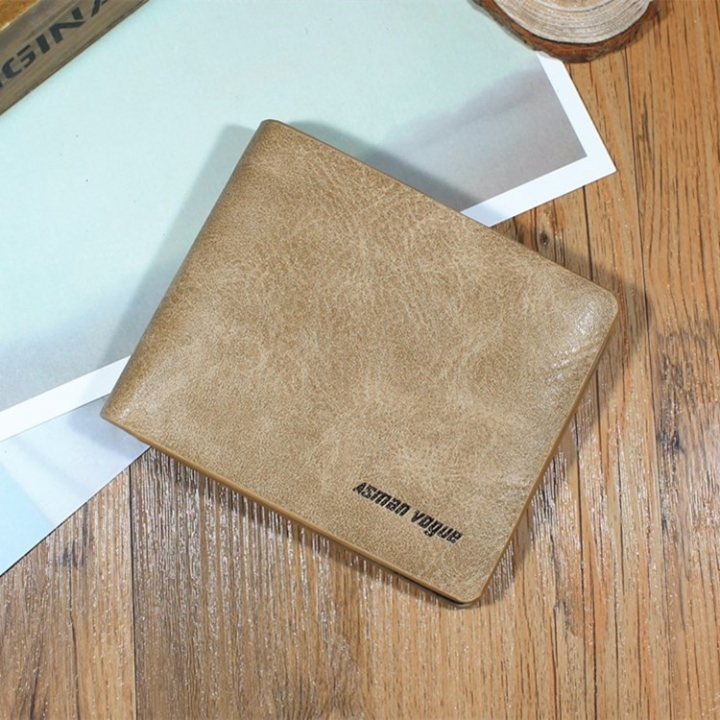Men Short Section Tide Men Personality Wallet Cross Section Ultra thin Small Wallet Student Wallet apricot one size