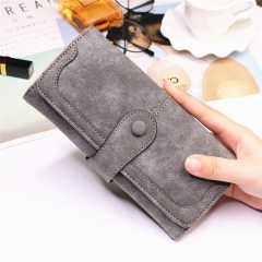 Female Long Section High Quality Scrub Stitching Ms Fashion Leisure Student Wallet gray one size