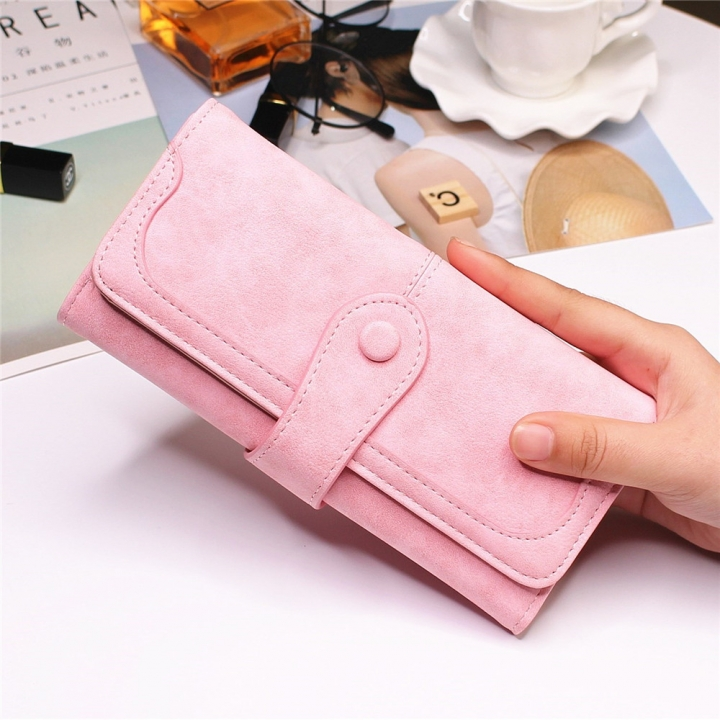 Female Long Section High Quality Scrub Stitching Ms Fashion Leisure Student Wallet ligth pink one size