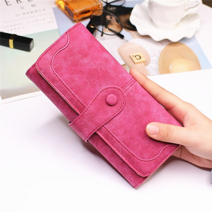 Female Long Section High Quality Scrub Stitching Ms Fashion Leisure Student Wallet rose red one size