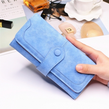 Female Long Section High Quality Scrub Stitching Ms Fashion Leisure Student Wallet sky blue one size