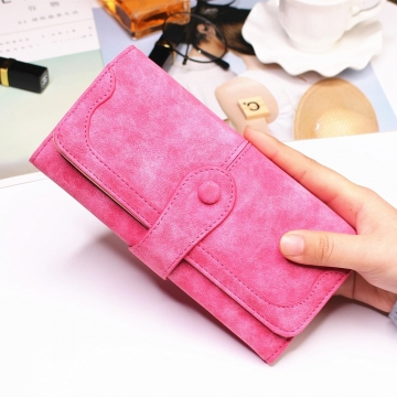 Female Long Section High Quality Scrub Stitching Ms Fashion Leisure Student Wallet pink red one size