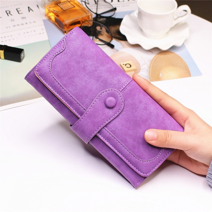 Female Long Section High Quality Scrub Stitching Ms Fashion Leisure Student Wallet purple one size