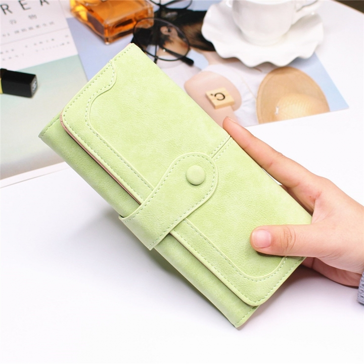Female Long Section High Quality Scrub Stitching Ms Fashion Leisure Student Wallet matcha green one size