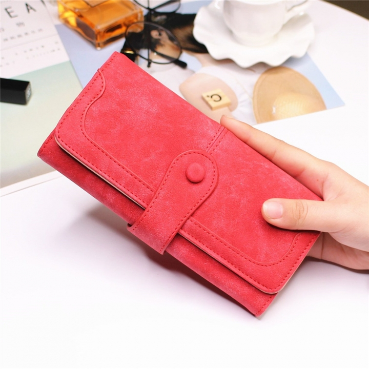 Female Long Section High Quality Scrub Stitching Ms Fashion Leisure Student Wallet red one size