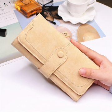 Female Long Section High Quality Scrub Stitching Ms Fashion Leisure Student Wallet apricot one size