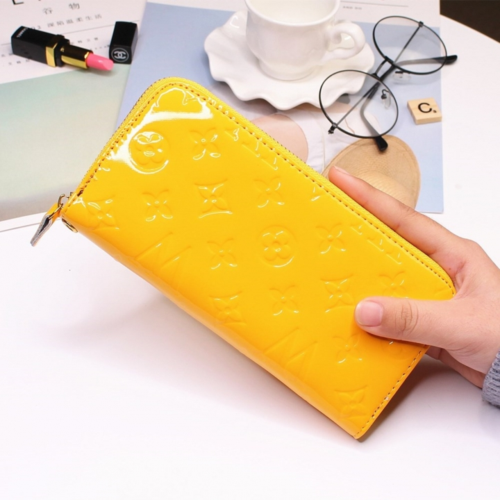 Fashion Patent Leather Western Style Wallet Zipper Ms Leisure Wallet Coin Purse yellow one size
