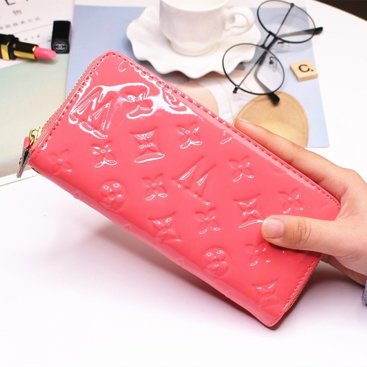 Fashion Patent Leather Western Style Wallet Zipper Ms Leisure Wallet Coin Purse watermelon red one size