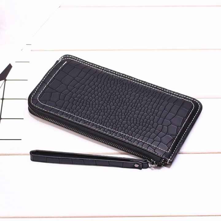 Ms Long Section Wallet Lines Female Models Zipper Wallet High Capacity Hand Bag black one size
