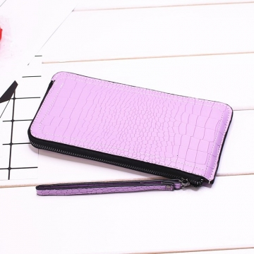 Ms Long Section Wallet Lines Female Models Zipper Wallet High Capacity Hand Bag ligth purple one size