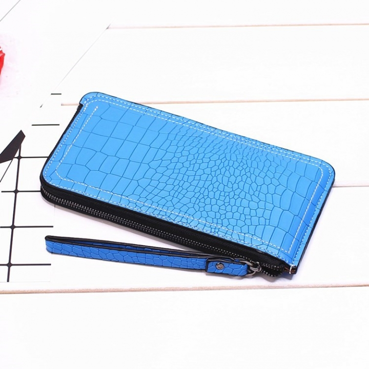 Ms Long Section Wallet Lines Female Models Zipper Wallet High Capacity Hand Bag blue one size