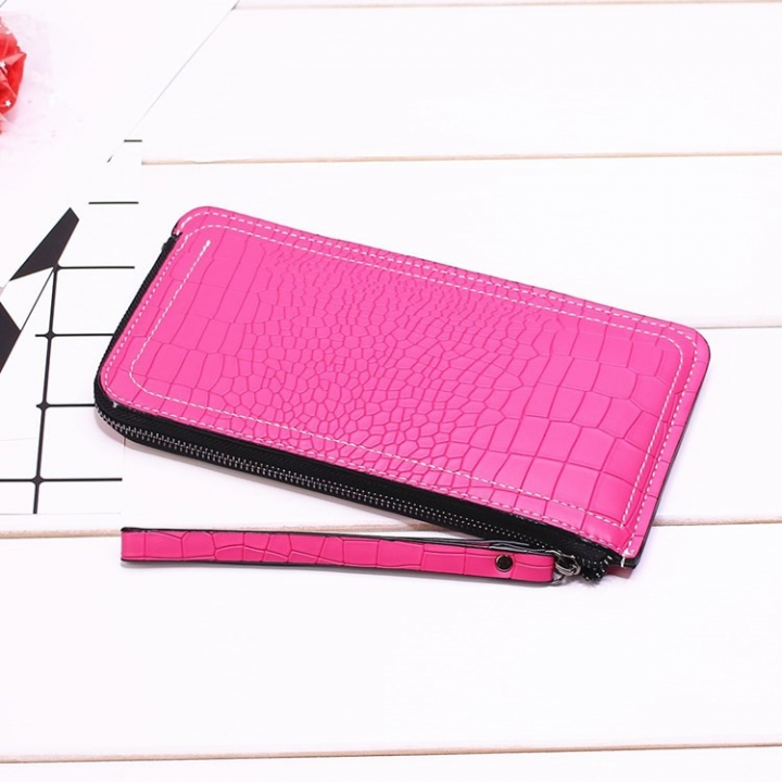 Ms Long Section Wallet Lines Female Models Zipper Wallet High Capacity Hand Bag rose red one size
