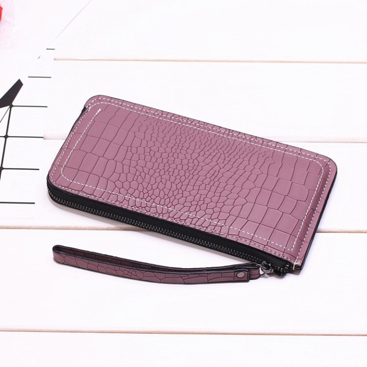 Ms Long Section Wallet Lines Female Models Zipper Wallet High Capacity Hand Bag purple one size