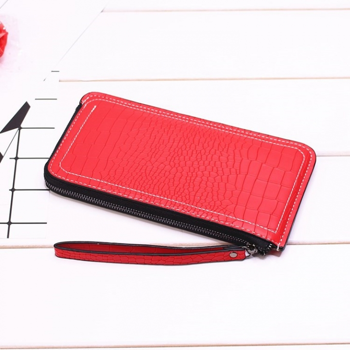 Ms Long Section Wallet Lines Female Models Zipper Wallet High Capacity Hand Bag red one size