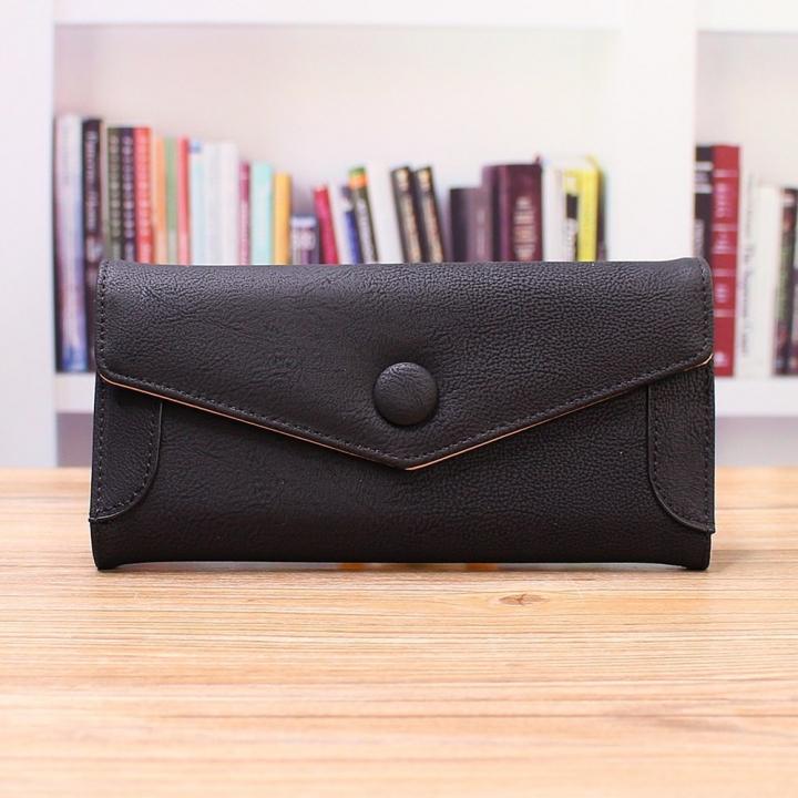Ms Wallet PU Western Style Three Fold fashion High Capacity Multi-card Bit Wallet Hand Bag black one size