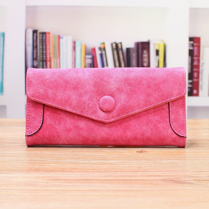 Ms Wallet PU Western Style Three Fold fashion High Capacity Multi-card Bit Wallet Hand Bag rose red one size