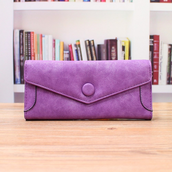 Ms Wallet PU Western Style Three Fold fashion High Capacity Multi-card Bit Wallet Hand Bag purple one size