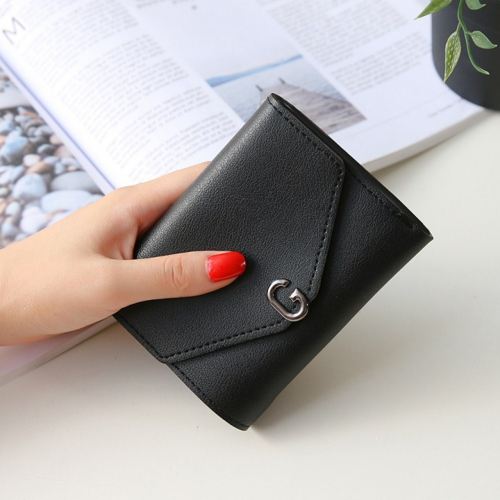 The New Ms Short Section Small Wallet Student Simple Wild Folding Mini Coin Purse black one size