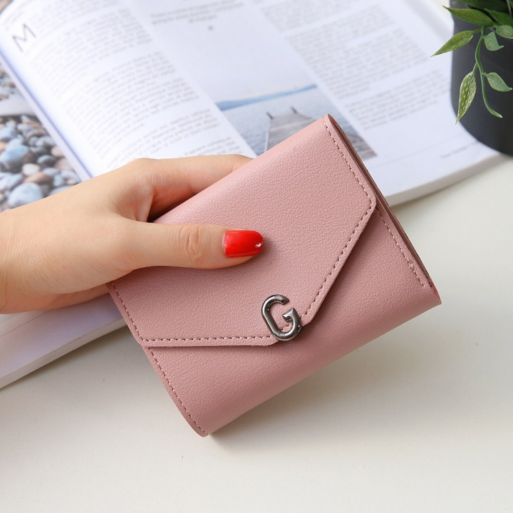 The New Ms Short Section Small Wallet Student Simple Wild Folding Mini Coin Purse pink one size