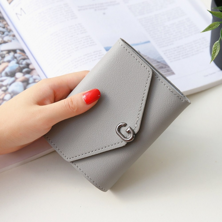 The New Ms Short Section Small Wallet Student Simple Wild Folding Mini Coin Purse gray one size