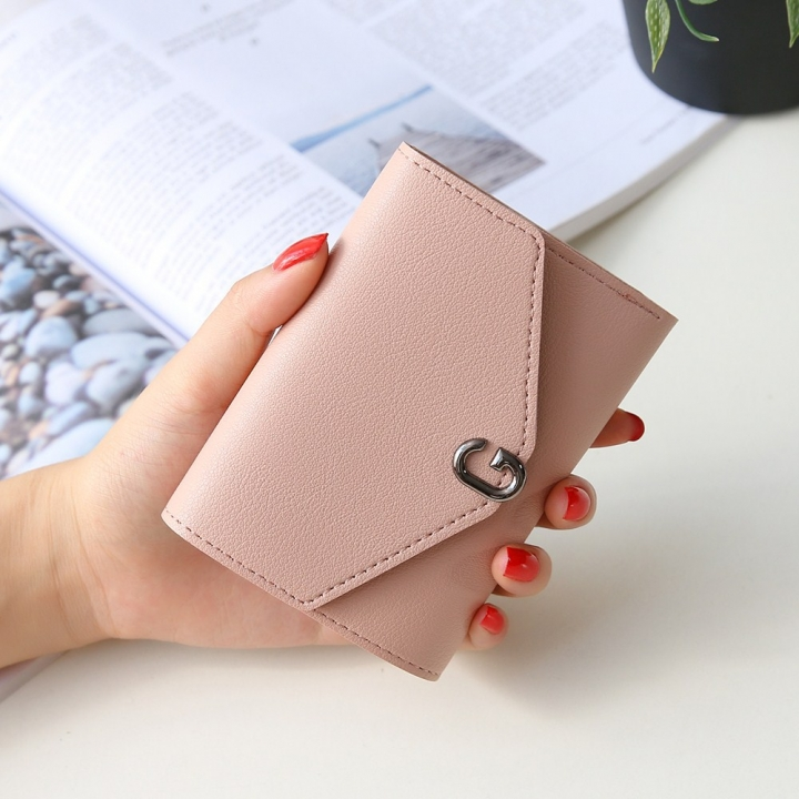 The New Ms Short Section Small Wallet Student Simple Wild Folding Mini Coin Purse ligth pink one size