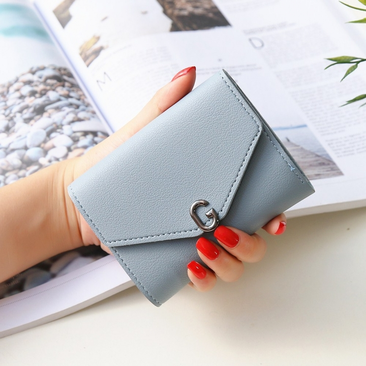 The New Ms Short Section Small Wallet Student Simple Wild Folding Mini Coin Purse sky blue one size