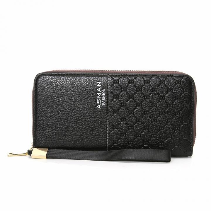 Business Wallet Long Section Zipper Handbag Men Wallet Big Bills Fashion Wallet coffee one size