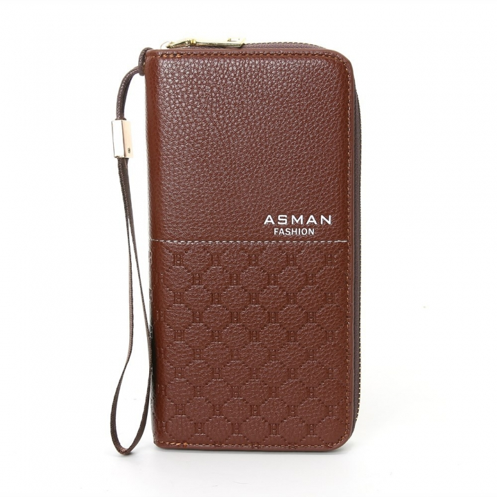 Business Wallet Long Section Zipper Handbag Men Wallet Big Bills Fashion Wallet dark coffee one size