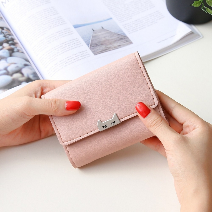 The New Ms Fold Wallet Short Section Youth Simple Fashion Small Fresh Student Wallet ligth pink one size