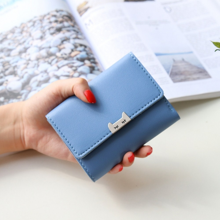 The New Ms Fold Wallet Short Section Youth Simple Fashion Small Fresh Student Wallet blue one size