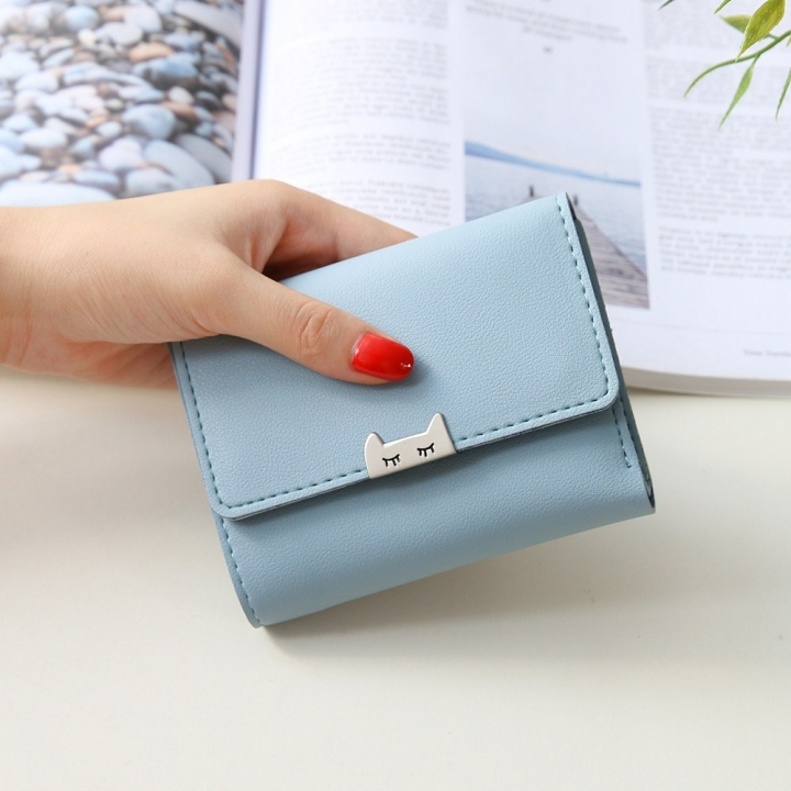 The New Ms Fold Wallet Short Section Youth Simple Fashion Small Fresh Student Wallet ligth green one size