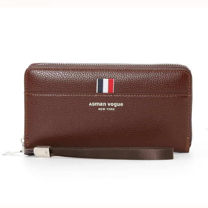 The New Men Wallet Long Section Multifunction Zipper Hand Bag Multi-card Bit High Capacity Wallet dark coffee one size