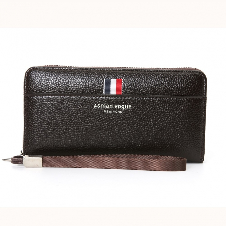 The New Men Wallet Long Section Multifunction Zipper Hand Bag Multi-card Bit High Capacity Wallet coffee one size