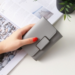 Short Section Simple Fashion Litchi Pattern Female Solid Color Three Fold Student Wallet gray one size