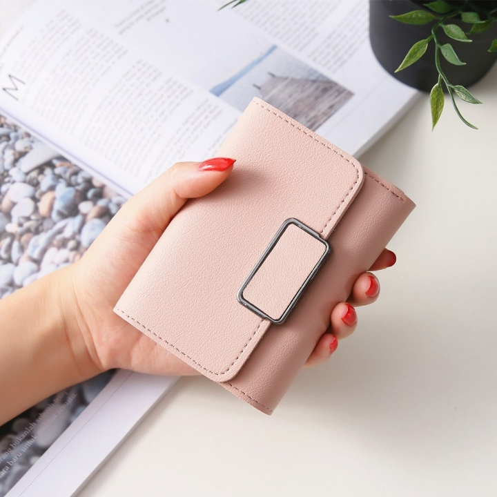 Short Section Simple Fashion Litchi Pattern Female Solid Color Three Fold Student Wallet ligth pink one size