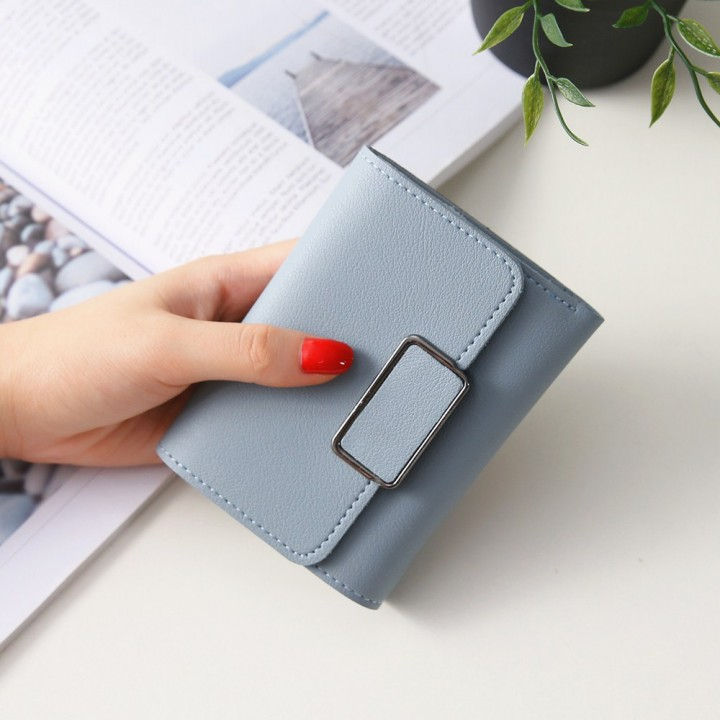 Short Section Simple Fashion Litchi Pattern Female Solid Color Three Fold Student Wallet sky blue one size