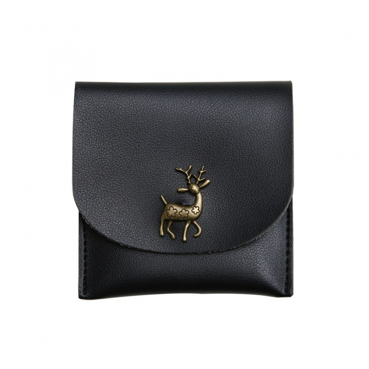 Fashion Short Section Wallet Deer Ms Ultra Thin Mini Coin Purse Simple Wild lovely Wallet black one size