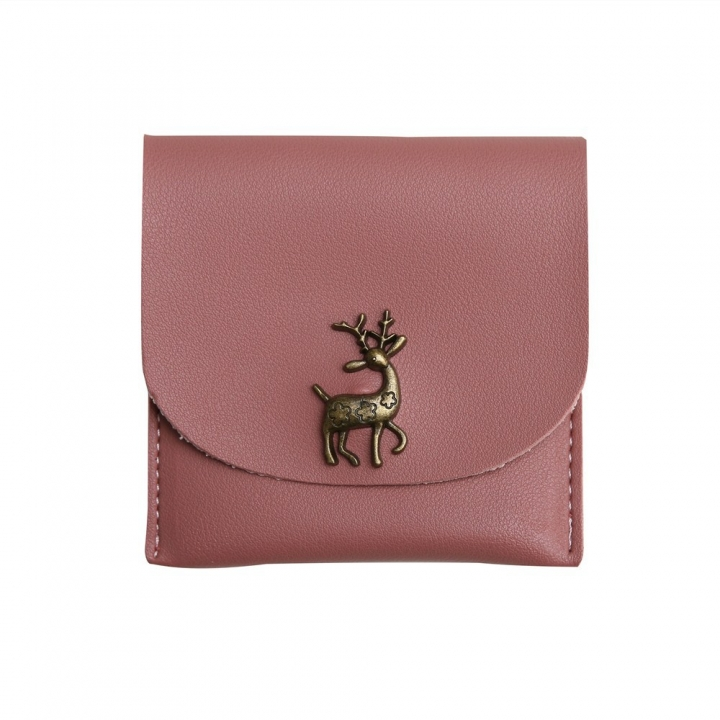 Fashion Short Section Wallet Deer Ms Ultra Thin Mini Coin Purse Simple Wild lovely Wallet pink one size