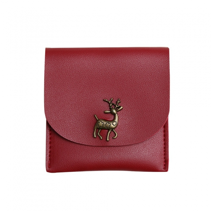 Fashion Short Section Wallet Deer Ms Ultra Thin Mini Coin Purse Simple Wild lovely Wallet red one size