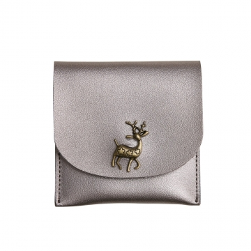 Fashion Short Section Wallet Deer Ms Ultra Thin Mini Coin Purse Simple Wild lovely Wallet silver gray one size