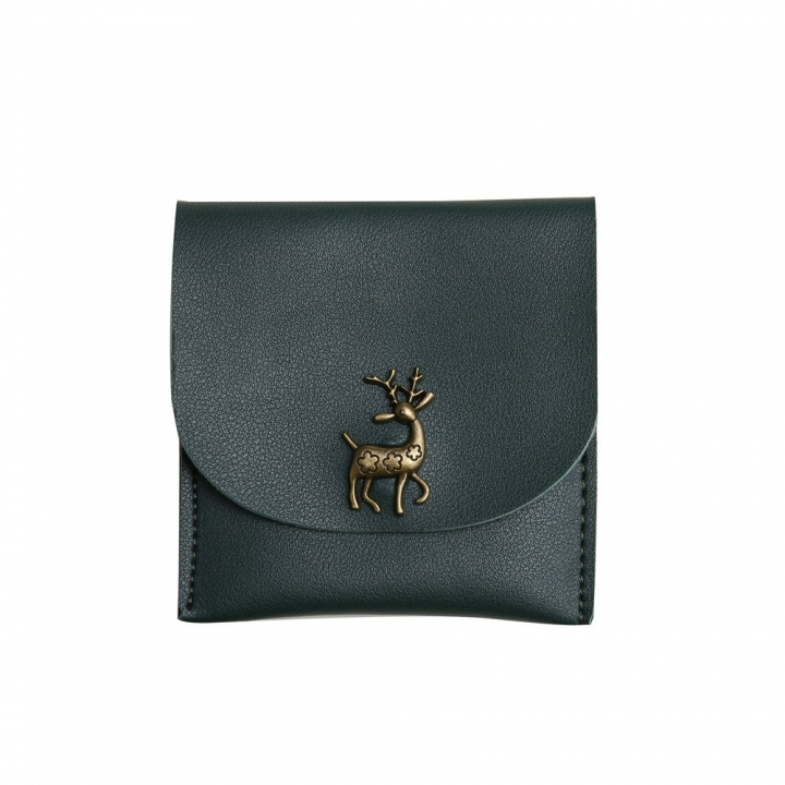 Fashion Short Section Wallet Deer Ms Ultra Thin Mini Coin Purse Simple Wild lovely Wallet dark green one size